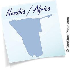 anteckna, karta, namibiaer, klibbig