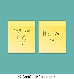 anteckna, klibbig, gul, valentinbrev