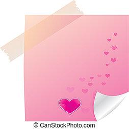 anteckna, klibbig, valentinbrev