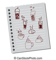 anteckna, kuper, kaffe, papper, hand-drawn