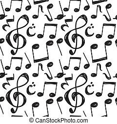 anteckna, mönster, musik