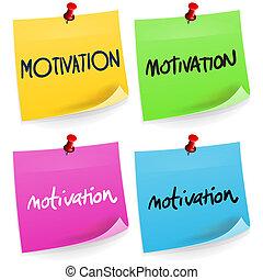 anteckna, motivering, klibbig