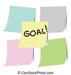 anteckna, papersticker, mål, plan