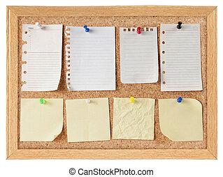 anteckna, papper, bord, kollektion, kork