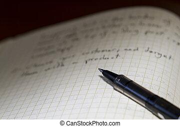 anteckna, penna, bok, tom