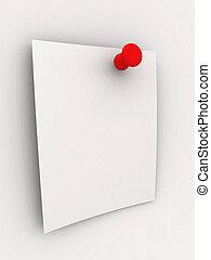 anteckna, pi, -, klibbig, röd