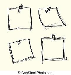 anteckna, pushpins, papper, oavgjord, hand