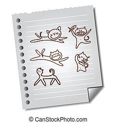 anteckna, rolig, hand-drawn, papper, katt