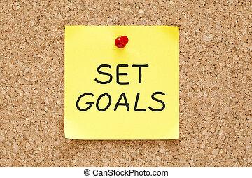 anteckna, sätta, mål, klibbig