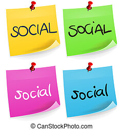 anteckna, social, klibbig