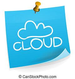 anteckna, teknologi, moln, klibbig