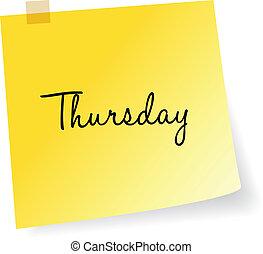 anteckna, torsdag, gul, klibbig