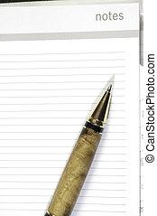 anteckna, vila, penna, sida