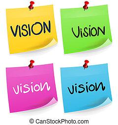 anteckna, vision, klibbig