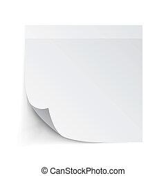 anteckna, vit, papper