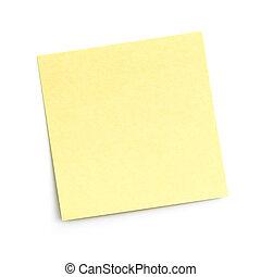 anteckna, vit, tom, klibbig