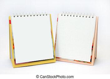 anteckningsböcker, två, tom, sidor