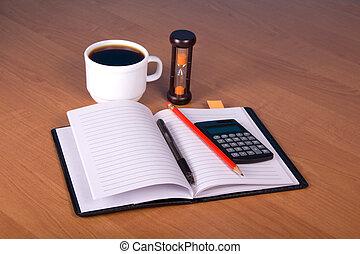 anteckningsblock, blyertspenna, den, räknemaskin