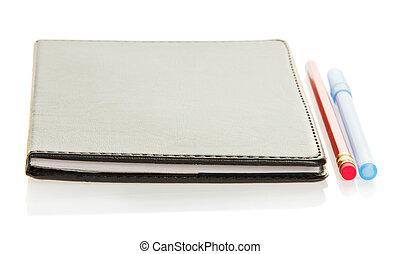 anteckningsblock, blyertspenna, och, den, handtag