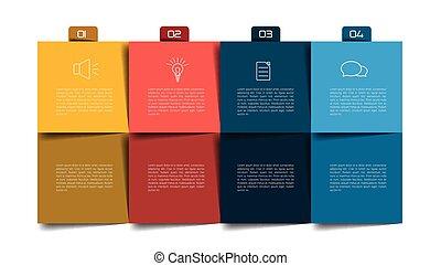 anteckningsblock, schema, infographic., planläggare, steg, ...