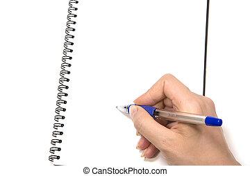 anteckningsblock, skrift
