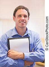 anteckningsblock, uppe, elegant, stående, nära, manlig lärare