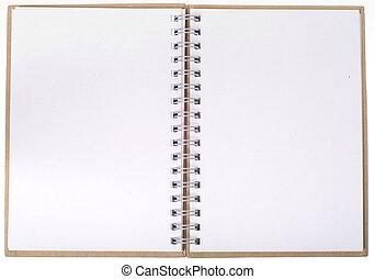 anteckningsbok, öppna, sidor, tom