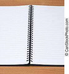 anteckningsbok, öppna, spiral