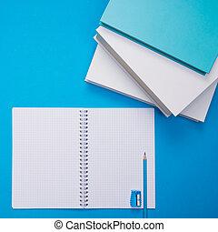 anteckningsbok, öppna, student, skrivbord
