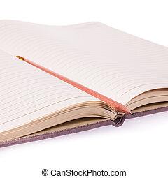 anteckningsbok, öppnat