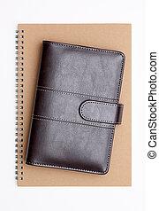 anteckningsbok, brun, läder