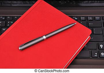 anteckningsbok, dagbok, och, penna