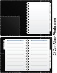 anteckningsbok, dagbok, tom