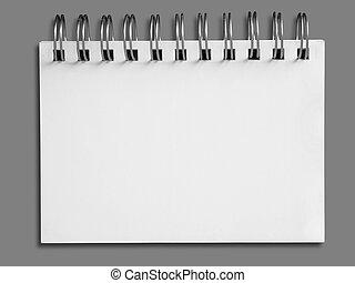 anteckningsbok, en, papper, tom, vita vett, horisontal