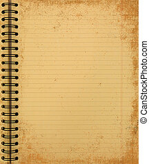 anteckningsbok, grunge, gul