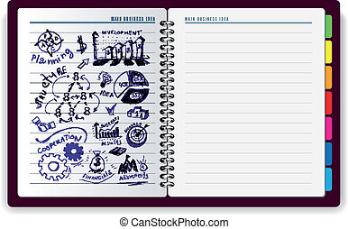 anteckningsbok, idé, skapande
