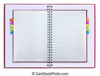 anteckningsbok, isolerat, röd