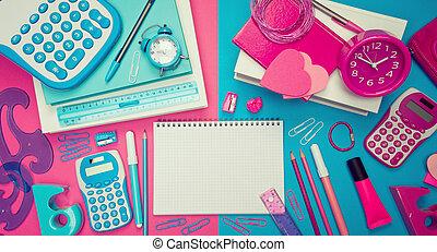 anteckningsbok, manlig, kvinnlig, skrivbord