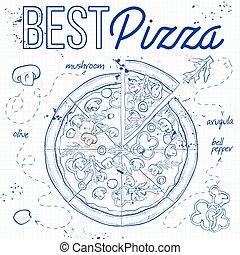 anteckningsbok, mashrooms, sida, pizza