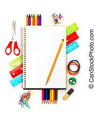 anteckningsbok, med, skola levererar