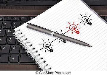 anteckningsbok, penna, dagbok