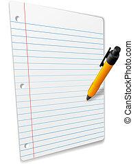 anteckningsbok, penna, papper, perspektiv, härskat, teckning...