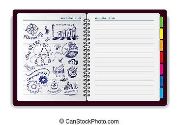 anteckningsbok, skapande, idé
