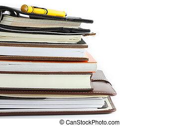 anteckningsbok, stack, bindemedel, bok, ringa, eller