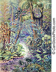 Antediluvian landscape, vintage engraving. - Antediluvian ...