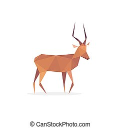 Antelope African isolated, faces polygons style logo design animal in low poly