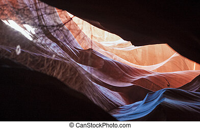 Antelope Canyon Shapes and Forms Seen Through the Cliffs in Nava