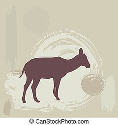 Antelope Fawn silhouette on grunge background. vector