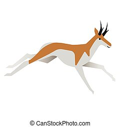 antelope flat illustration. Forest animals creatures series.