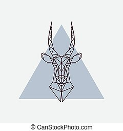 Antelope head in polygonal style. Triangle vector...
